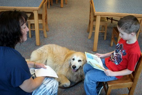 picture of student reading to therapy dog