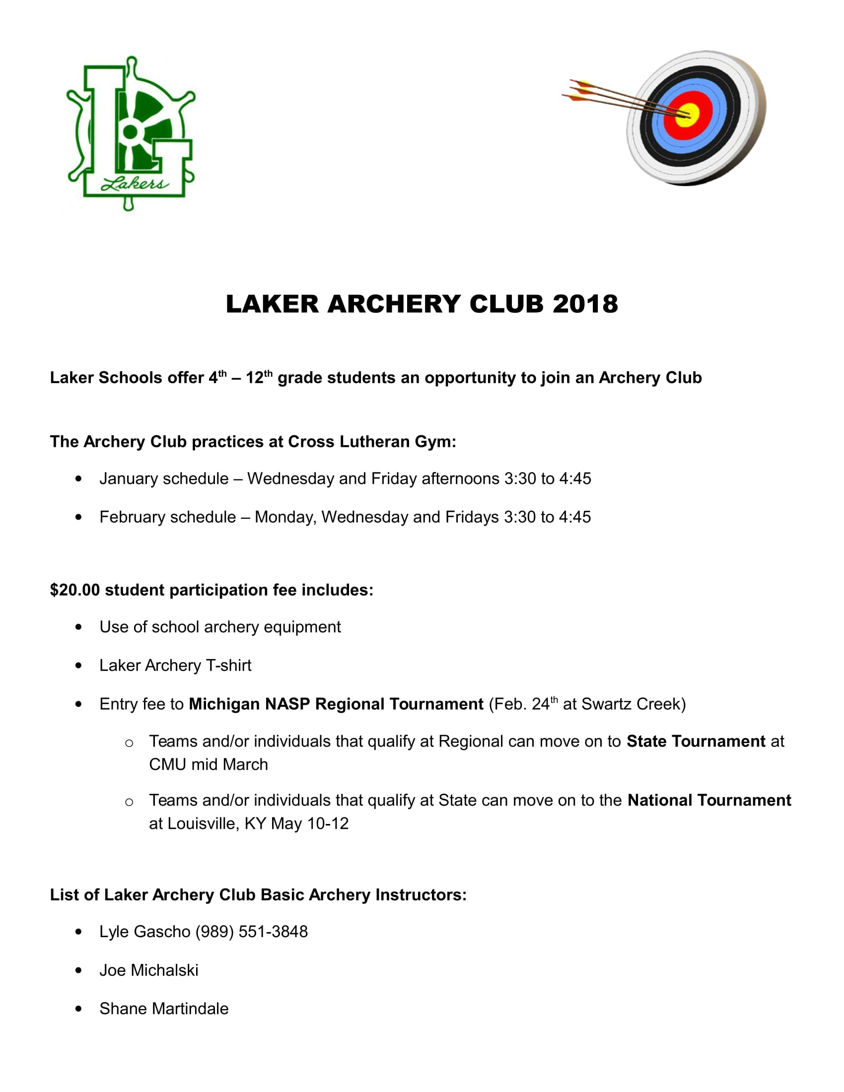 Laker Archery Club info
