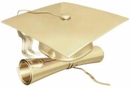 golden grad hat and diploma