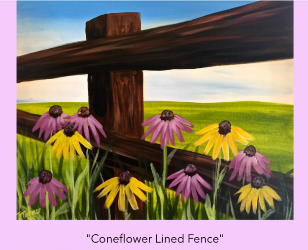 coneflower lined fence